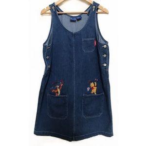 Vintage 90's Disney Pooh Denim Jumper Dress 🌻
